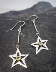 Sterling Silver Peridot Star Earrings