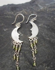 Sterling Silver Peridot Man in Moon Earrings
