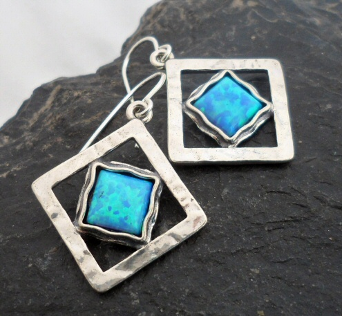 Large Sterling Silver Diamond Shape Opal Earrings