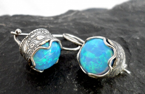 Sterling Silver Man Made Opal Earrings with Raised Ornate Pattern