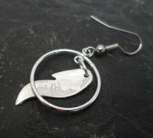Vincent Henson Sterling Silver Native Feather with Circle Earrings