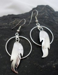 Vincent Henson Sterling Silver Native Feather Earrings