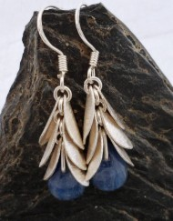 Sterling Silver Kyanite Leaf Drop Earrings