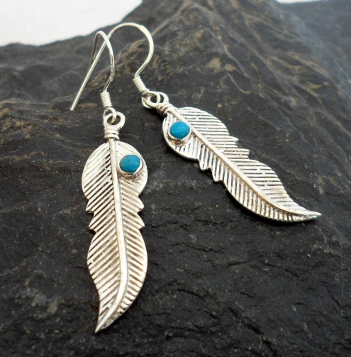Sterling Silver Feather Earrings with Turquoise Gemstone
