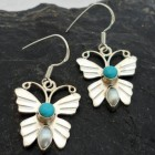 Sterling Silver Turquoise and Pearl Butterfly Earrings