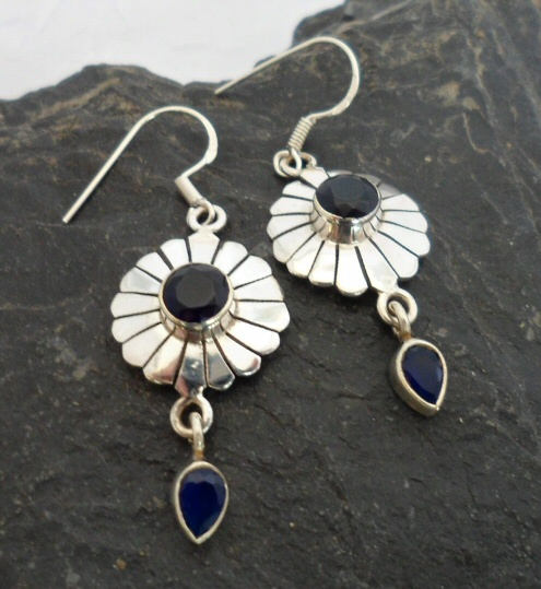 Sterling Silver India Sapphire Drop Earrings