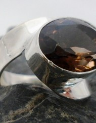 Sterling Silver Smoky Quartz Ring sz 6.75