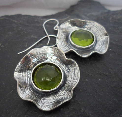 Large Sterling Silver Emulated Peridot Earrings