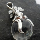 Large Sterling Silver Round Crystal Angel Pendant