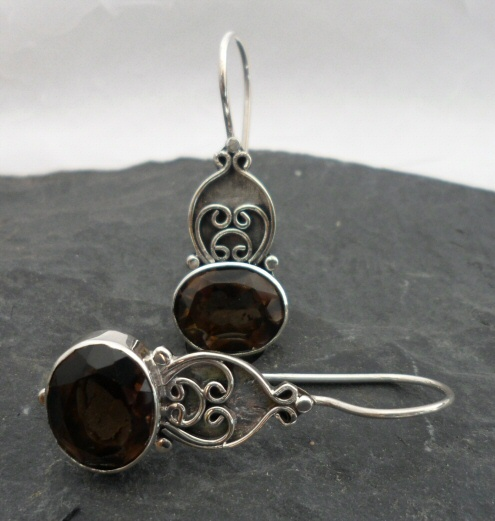 Sterling Silver Filigree Smoky Quartz Earrings