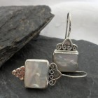 Sterling Silver Mother of Pearl Long Drop Earrings