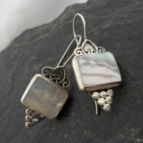 Sterling Silver Mother of Pearl Long Drop Earrings