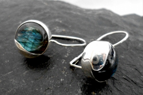 Sterling Silver Modern Style Labradorite Earrings ~Designed in India