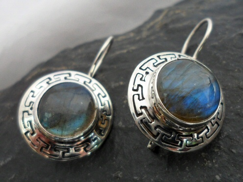 Sterling Silver Asian Style Labradorite Earrings