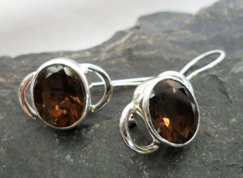Sterling Silver Smoky Quartz Drop Earrings