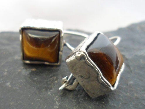 Sterling Silver Tiger's-eye Earrings
