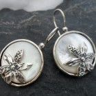 Sterling Silver Mother of Pearl Earrings with Flowers