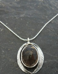 Sterling Silver Smoky Quartz Leaf Necklace