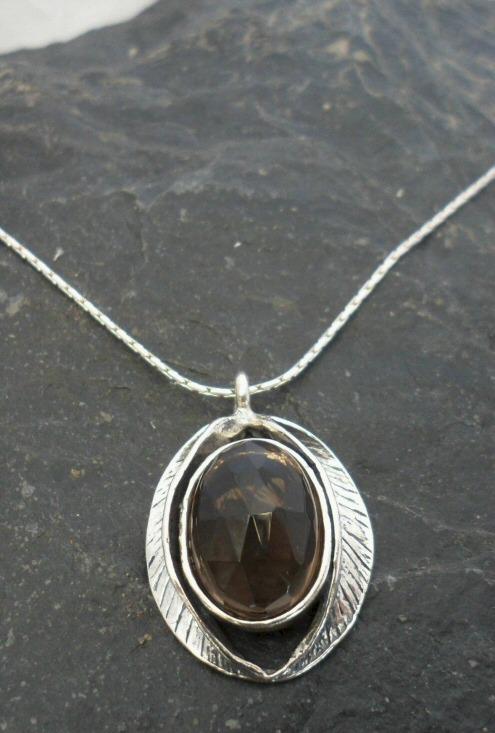 Sterling Silver Smoky Quartz Leaf Necklace