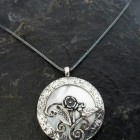 Sterling Silver Mother of Pearl Necklace with Flowers