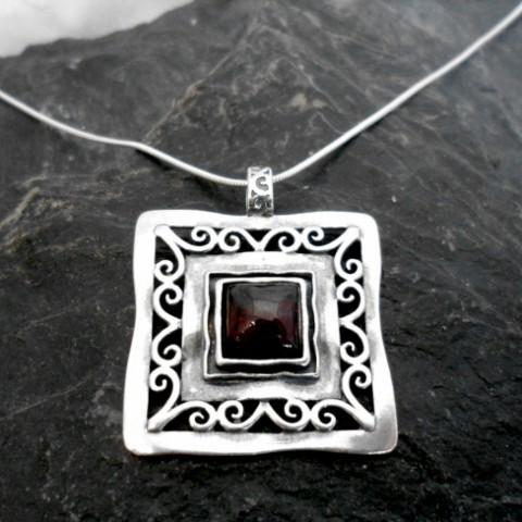 Large Filigree Sterling Silver Square Garnet Necklace