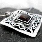 Large Filigree Sterling Silver Square Garnet Necklace