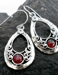 Hammered Sterling Silver Tear-drop Shaped Garnet Earrings