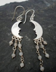 Sterling Silver Moonstone Man in Moon Earrings