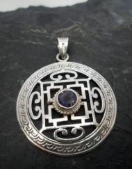 Sterling Silver Round Filigree Iolite Mandala Pendant