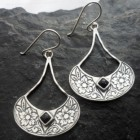 Sterling Silver Engraved Flower Onyx Earrings
