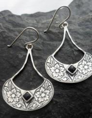 Sterling Silver Engraved Flower Onyx Earrings
