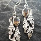 Sterling Silver Smoky Quartz Angel Wing Earrings