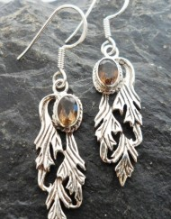 Sterling Silver Smoky Quartz Angel Wing Earrings