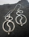 Sterling Silver Textured Snake Earrings