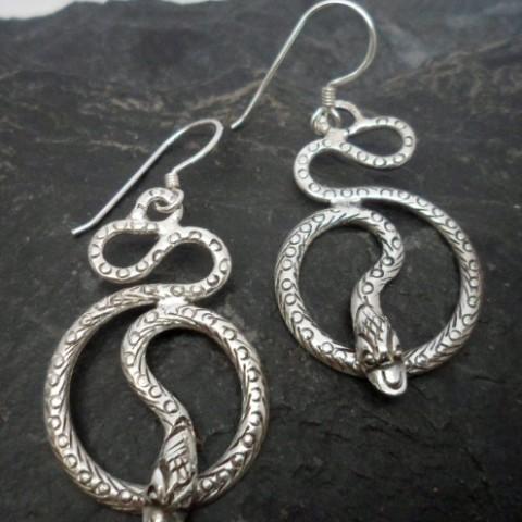 Sterling Silver Textured Snake Earrings