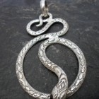Large Sterling Silver Textured Snake Pendant