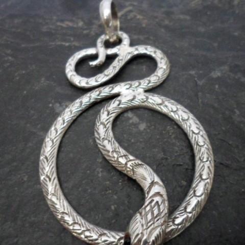 Large Sterling Silver Textured Snake Pendant