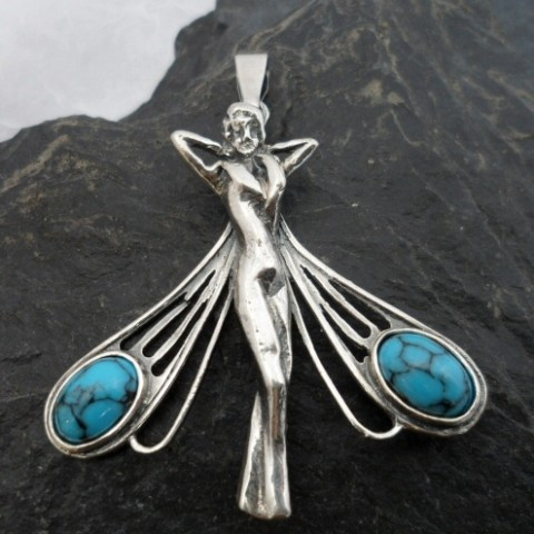 Large Sterling Silver Turquoise Dragonfly Lady Pendant