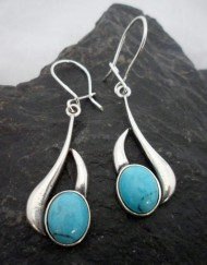 Sterling Silver Long Drop Oval Turquoise Earrings