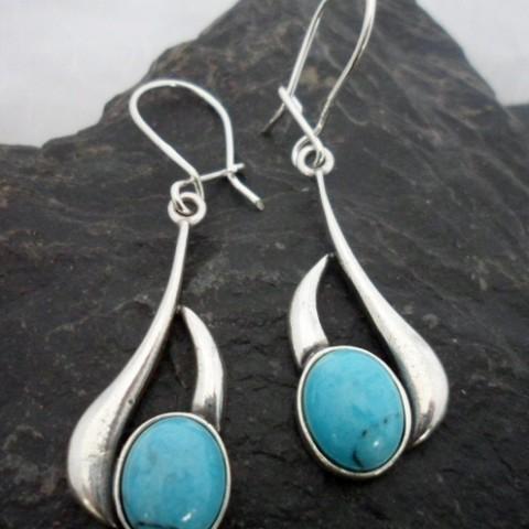 Sterling Silver Long Drop Oval Turquoise Earrings