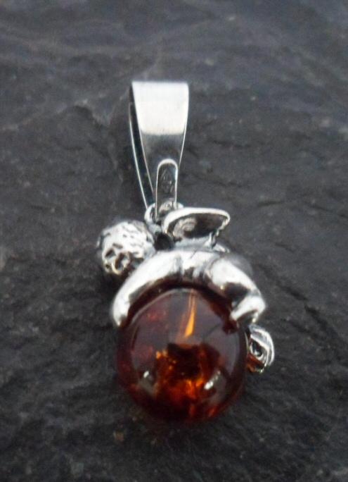Sterling Silver Baltic Amber Cherub Pendant/Charm