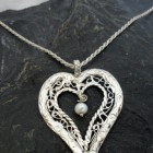 Large Sterling Silver Filigree Heart Necklace with Pearl Drop