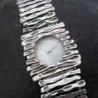 Sterling Silver Watch with Mother of Pearl Face