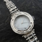 Sterling Silver Round Faced Watch with Mother of Pearl