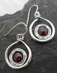 Sterling Silver Garnet Twist Earrings