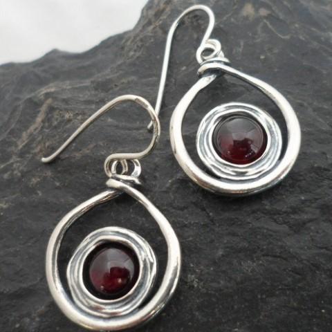 Sterling Silver Garnet Twist Earrings