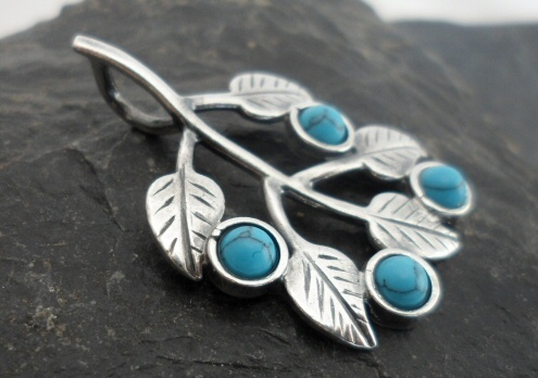 Sterling Silver Turquoise Leaf Pendant