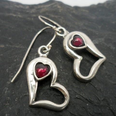 Sterling Silver Double Heart Garnet Earrings