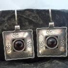 Square Sterling Silver Garnet Earrings