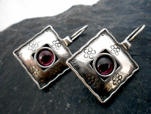 Square Sterling Silver Garnet Earrings